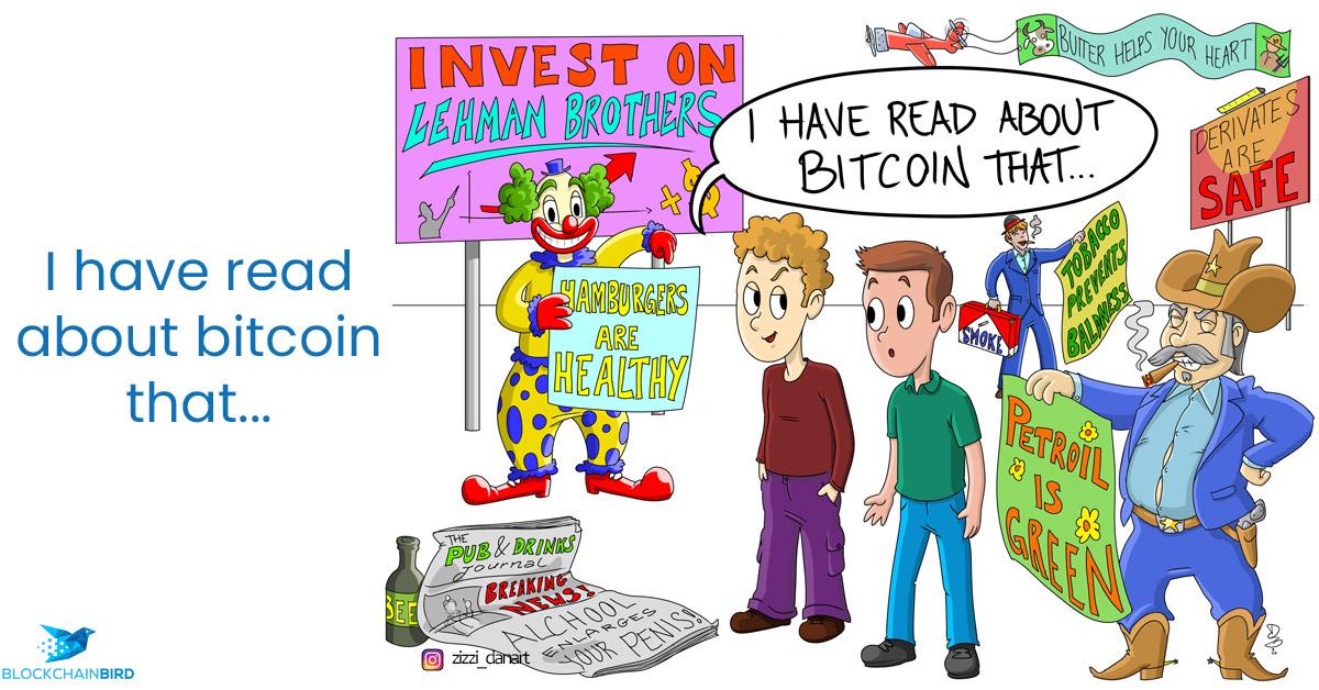 Een cartoon met een mannetje dat zegt: I have read about Bitcoin that… En dan allerlei onzin wat die dan gelezen heeft.